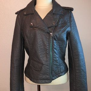 NWOT Blanc Noir Zip-Front Leather Jacket